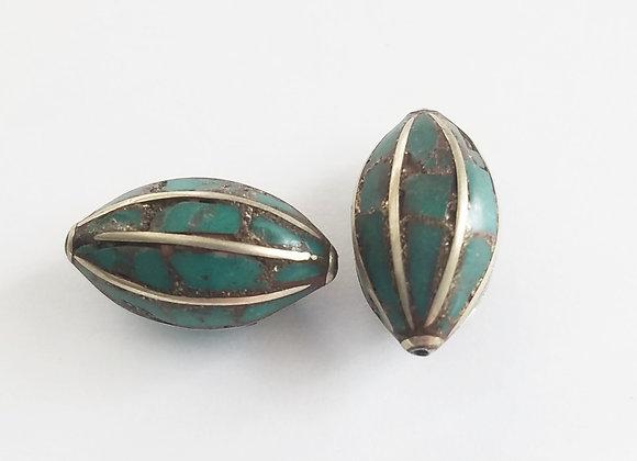 Brass Turquoise Inlay Bead