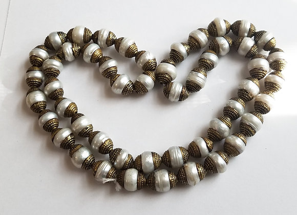 50 Brass White Pearls Bead String