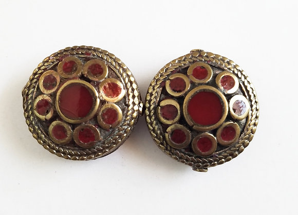 Large Brass Coral Color Enamel Bead