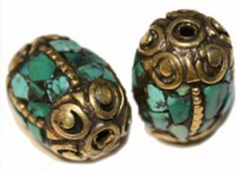 Oval Brass Turquoise Inlay Bead