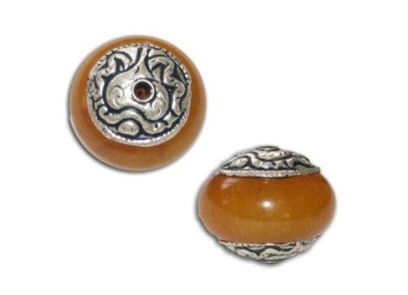 "Medium Classic Tibetan ""Amber"" Saucer Shaped Bead"
