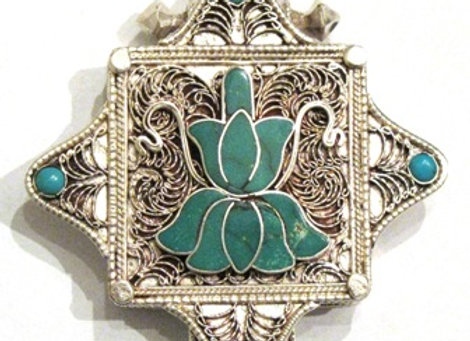 Turquoise  Inlay Lotus Tibetan Prayer Box