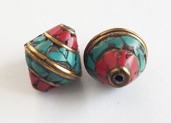 Tibetan Turquoise and Coral Inlay Bead