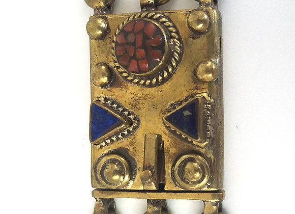 Three Strand Brass Box Pendant with Lapis and Coral