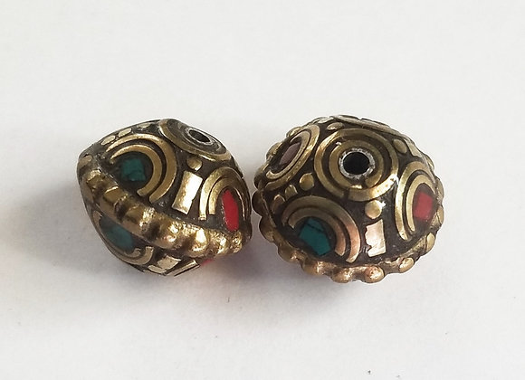 Brass Turquoise and Coral Inlay Rondell Bead