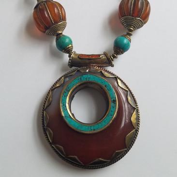 Carnelian Tibetan Pendant Necklace close