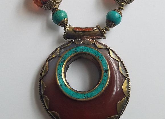 Tibetan Carnelian Agate Pendant Necklace