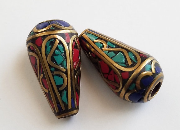Set of two Large Cone Shaped End Cap Beads