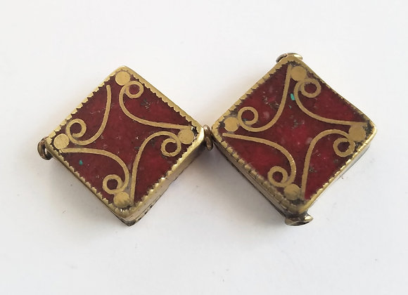 Enameled Square Brass Nepalese Bead