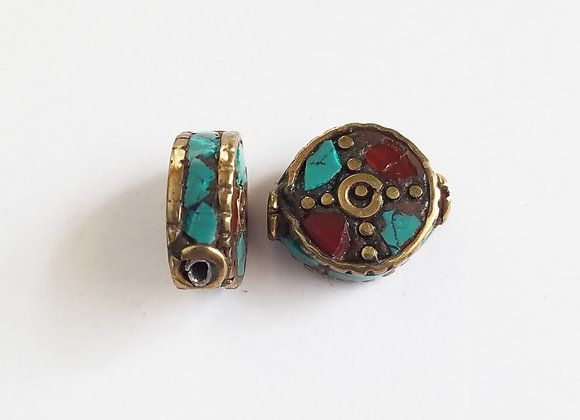 Small Brass Inlay Coral Bead