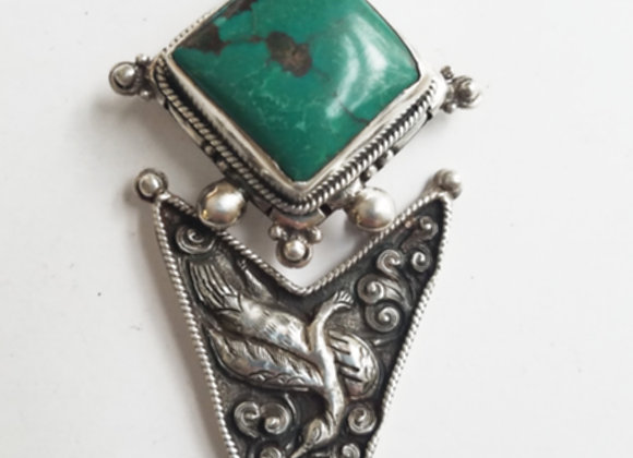 Spectacular Tibetan Turquoise Pendant and Brooch