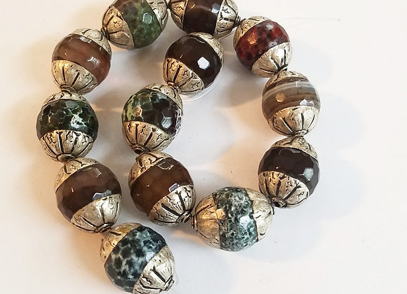 Variety of 13 agate beads