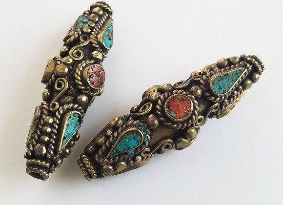 Long Large Hole, Brass Tibetan Bead with Turquoise and Coral  Inlay