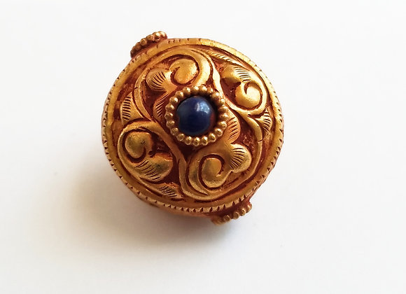 Gold Wash over Copper Highly Decorated Repousse beads