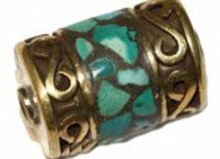 Barrel shaped turquoise inlay Brass Bead