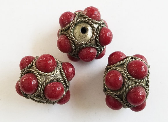 Set of 3 Red Bubble Beads