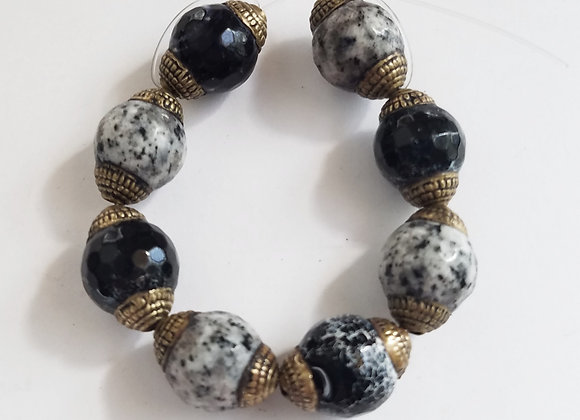 Brass Dalmatian Agate Beads