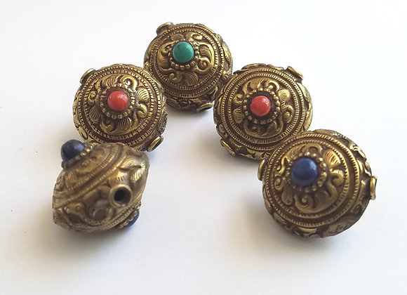 Brass Animal and Flower Repousse beads