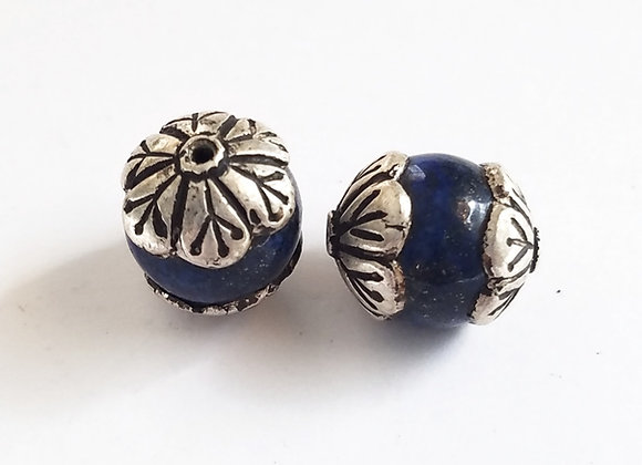 Tibetan Lapis Bead with Flower Cap