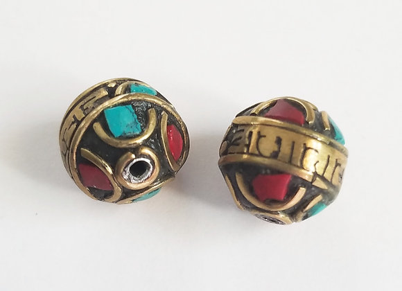 Om Mani Padme Hum Brass Turquoise and Coral Inlay Bead