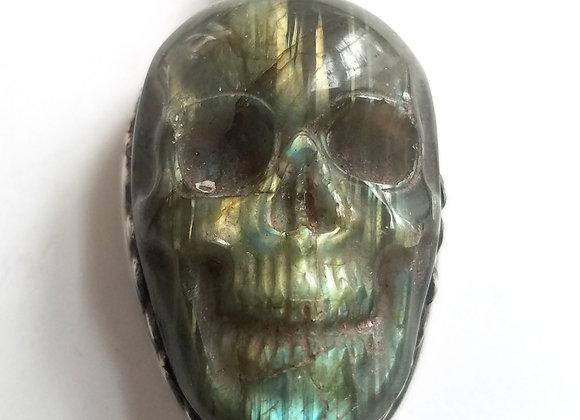 Tibetan Labradorite Skull Pendant