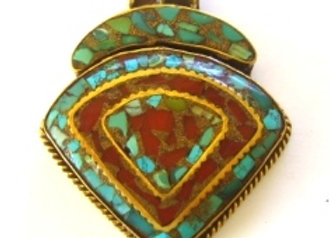 Triangle Shape Brass Pendant with turquoise and coral inlay