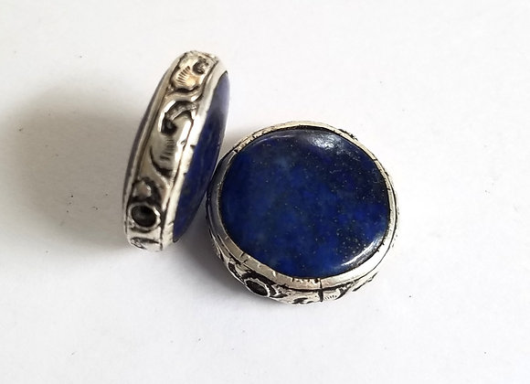 Lapis Coin Shape Tibetan Bead with Silver Band