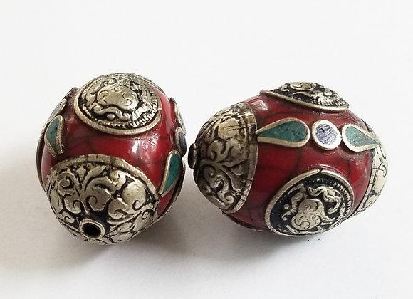 Tibetan Bead with Conch Shell Auspicious Symbol