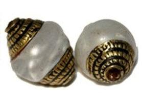 Brass White Pearl Bead