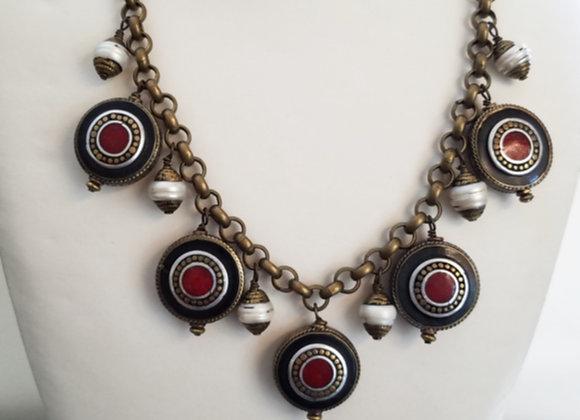 Tibetan Eye Bead and Pearl Necklace