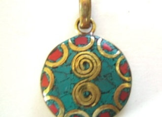Small Round Brass Pendant or Earring Component