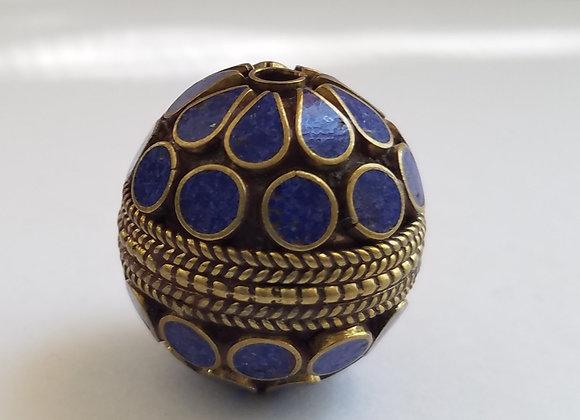 Large Brass Lapis Color Enamel Bead