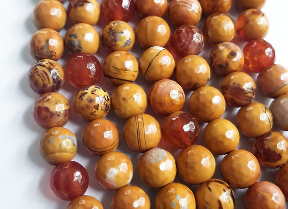 Agate Beads Orange and Yellow Hue