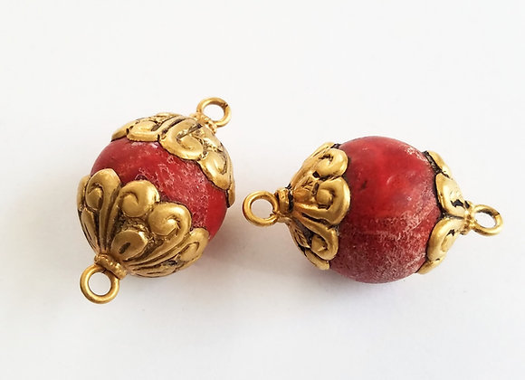 Gold Wash Sponge Coral Connector Bead
