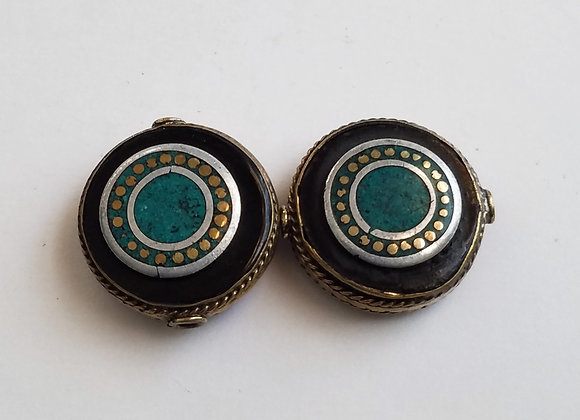 Eye Brass Turquoise Color Enamel Bead