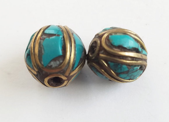 Round Turquoise and Brass Inlay Tibetan Bead