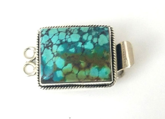 Two Strand Blue Turquoise Box Clasp