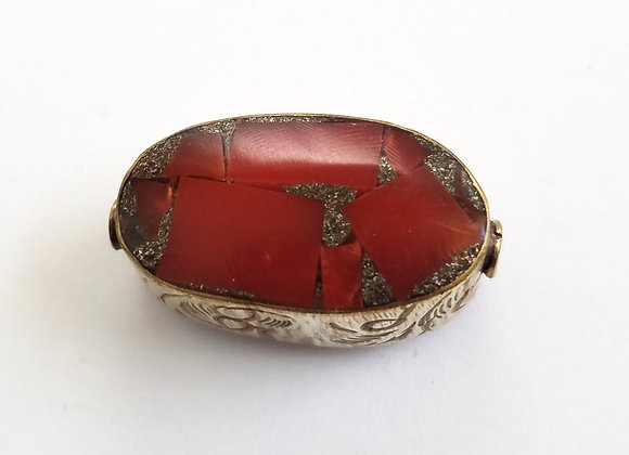 Large Brass Inlay Coral Bead