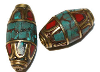 Brass bead with turquoise and coral inlay