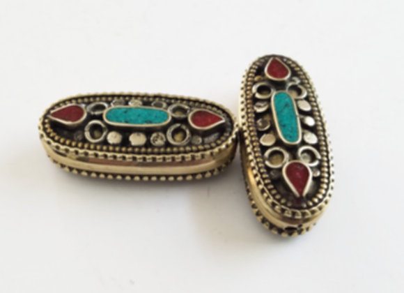 Tibetan Brass Oval Bead with Turquoise and Coral Inlay