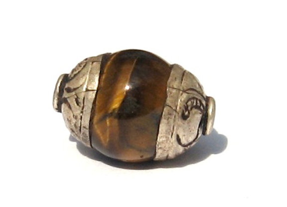 Small Tiger's Eye tibetan bead with Sterling cap