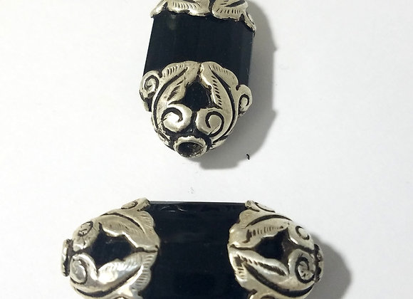 Tibetan Black Onyx Bead with Silver Caps