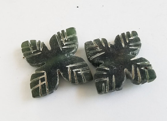 Set of 2 Medium Green Color Jade Leaf bead