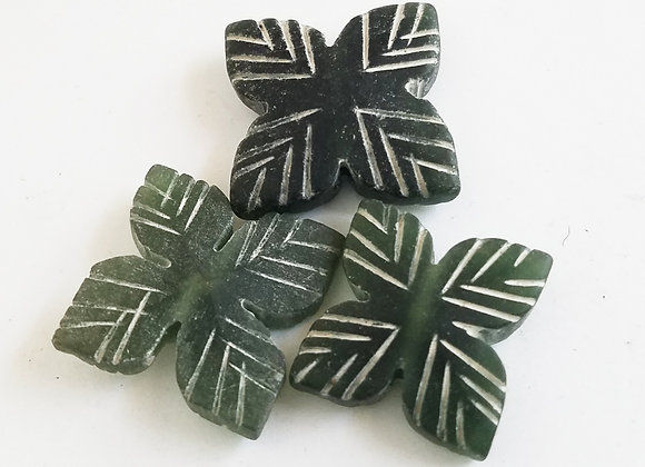 Set of 3 Green Color Jade Leaf bead