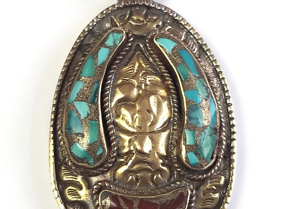 Brass Pendant with turquoise and coral inlay