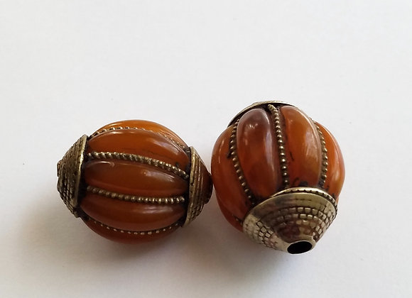 Resin Amber Bead with Brass Cage