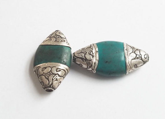 Tibetan Turquoise Double Point Bead
