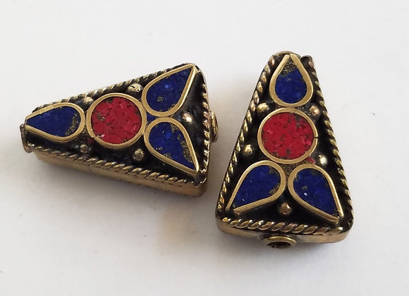 Brass Lapis and Coral Color Enamel Bead