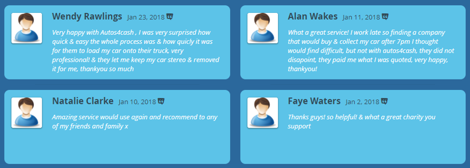 Great reviews for scrapping cars with autos4cash