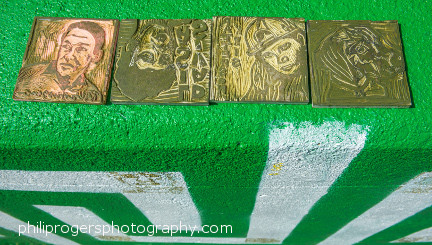 Linoblocks after being printed on the wall
